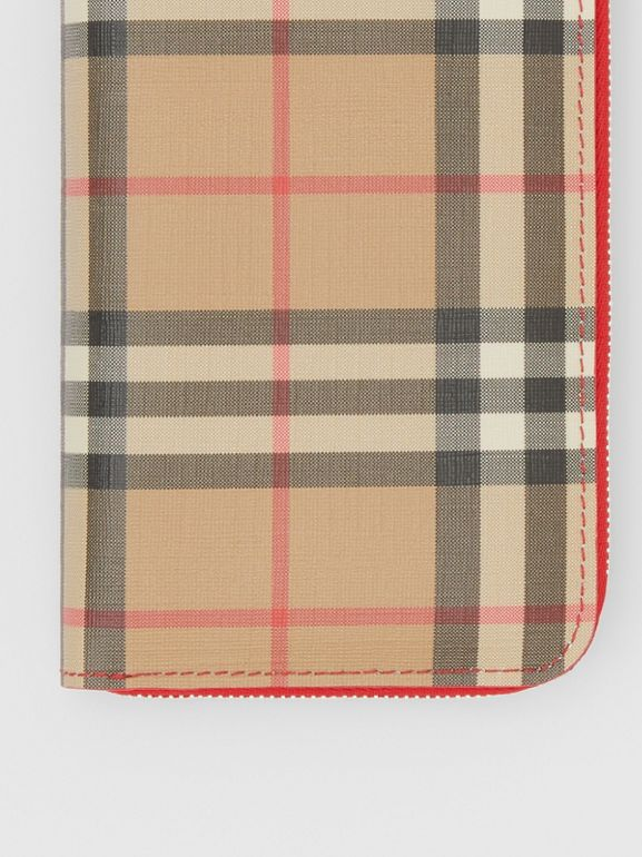 Vintage Check E-canvas and Leather Wallet in Bright Military Red - Women | Burberry Hong Kong S.A.R - cell image 1