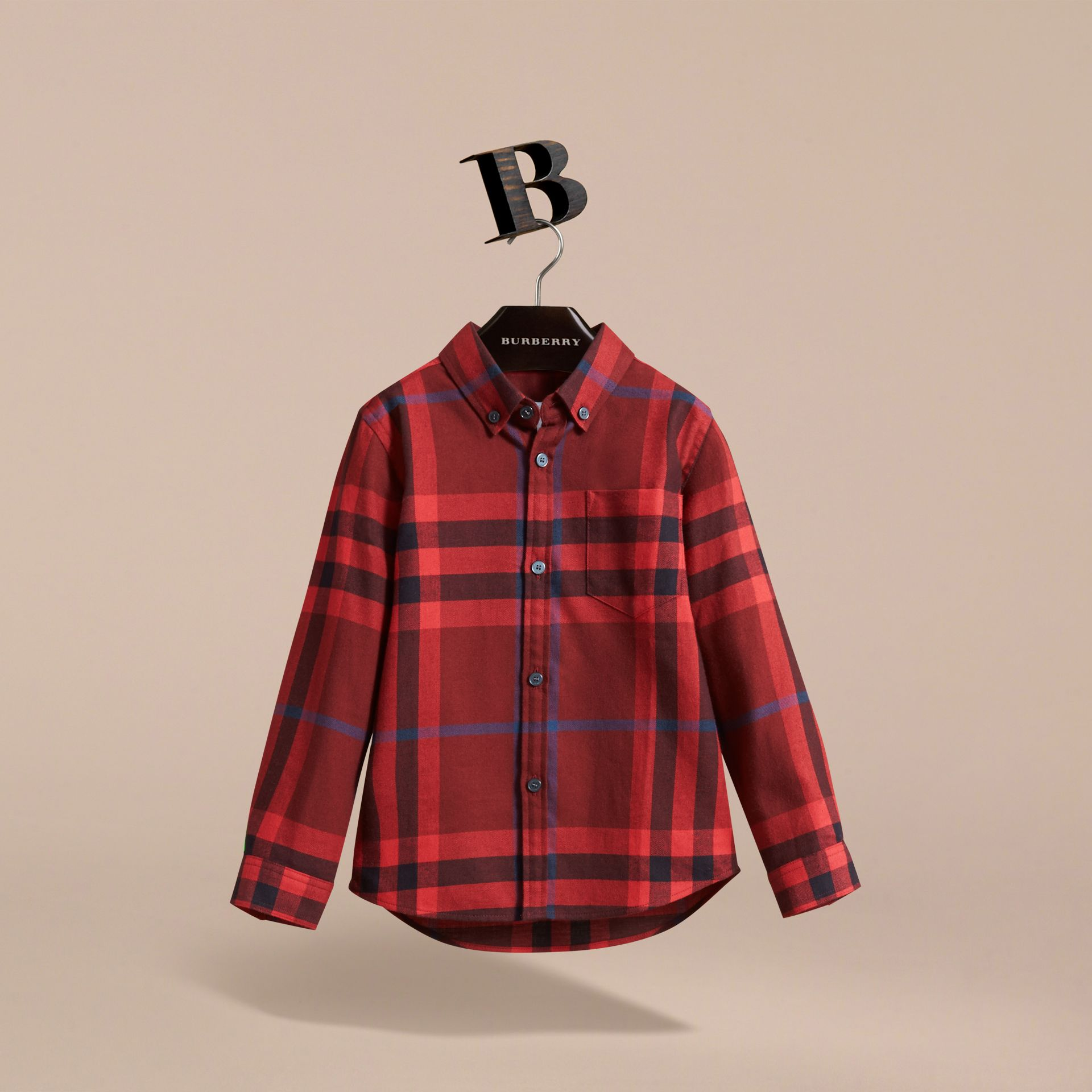 Check Cotton Flannel Button-Down Shirt in Mahogany Red - Boy | Burberry - gallery image 3