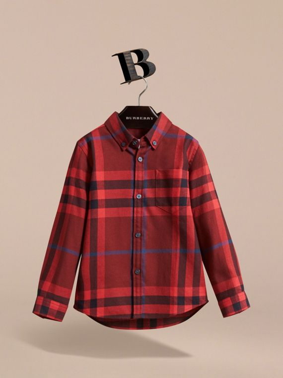 Check Cotton Flannel Button-Down Shirt in Mahogany Red - Boy | Burberry - cell image 2