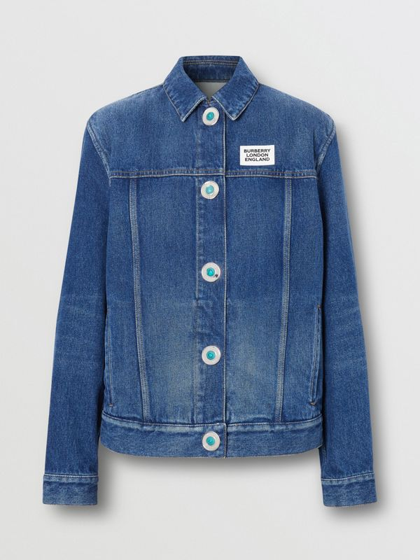 Logo Appliqué Reconstructed Denim Jacket in Indigo - Women | Burberry United Kingdom - cell image 3