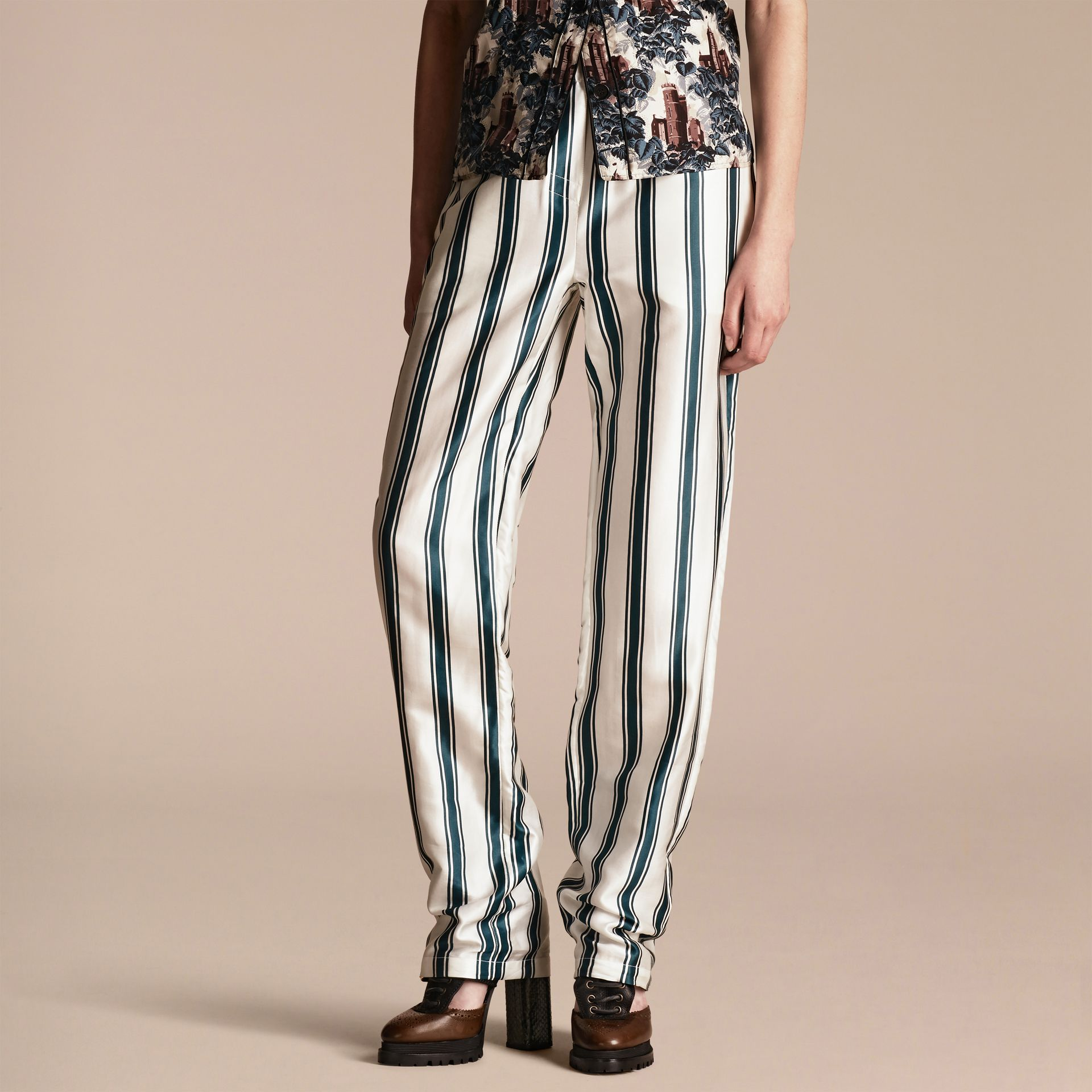 Panama Stripe Cotton Silk Pyjama-style Trousers - gallery image 1