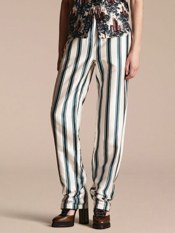 Panama Stripe Cotton Silk Pyjama-style Trousers
