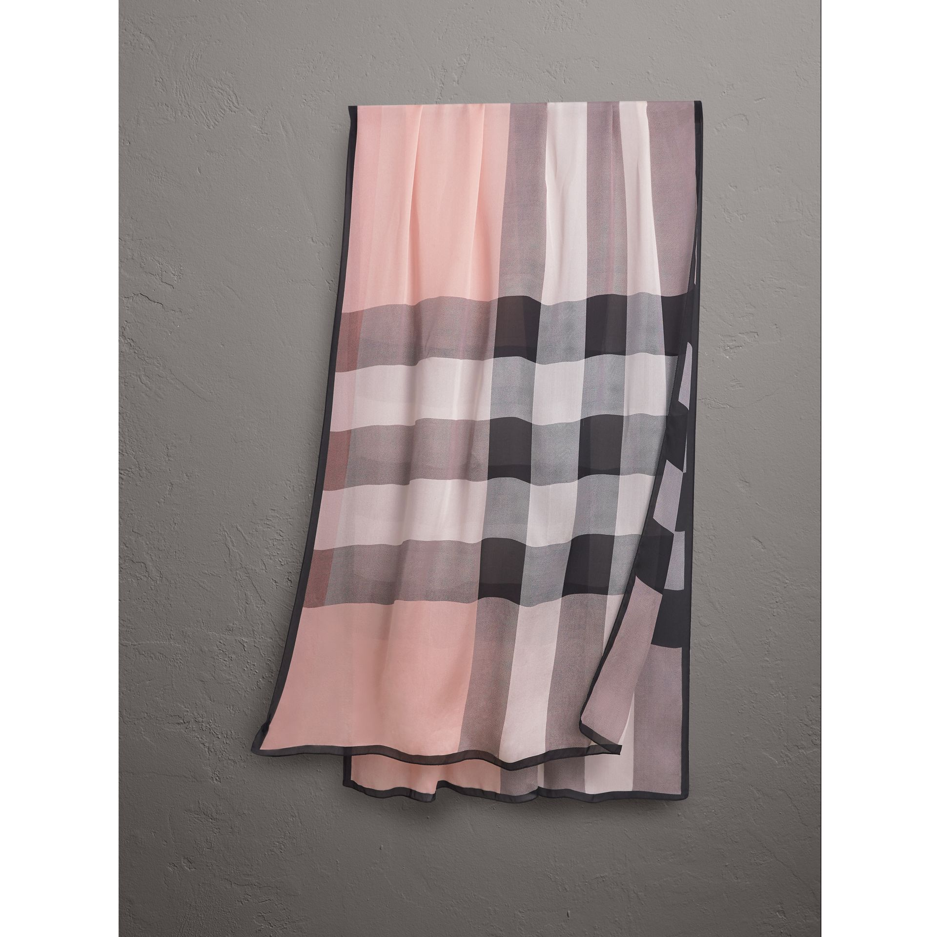 Lightweight Check Silk Scarf in Ash Rose - Women | Burberry - gallery image 0