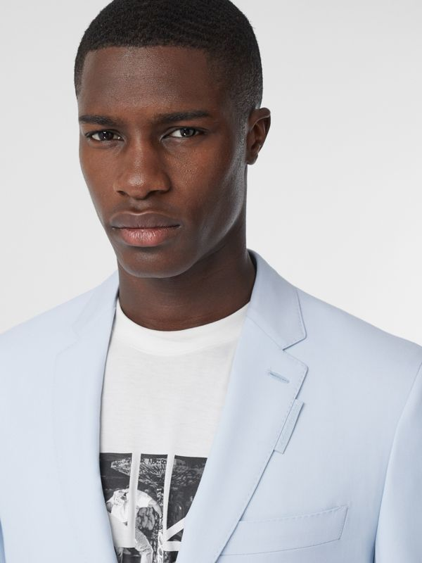Slim Fit Press-stud Tumbled Wool Tailored Jacket in Pale Blue - Men | Burberry United Kingdom - cell image 3