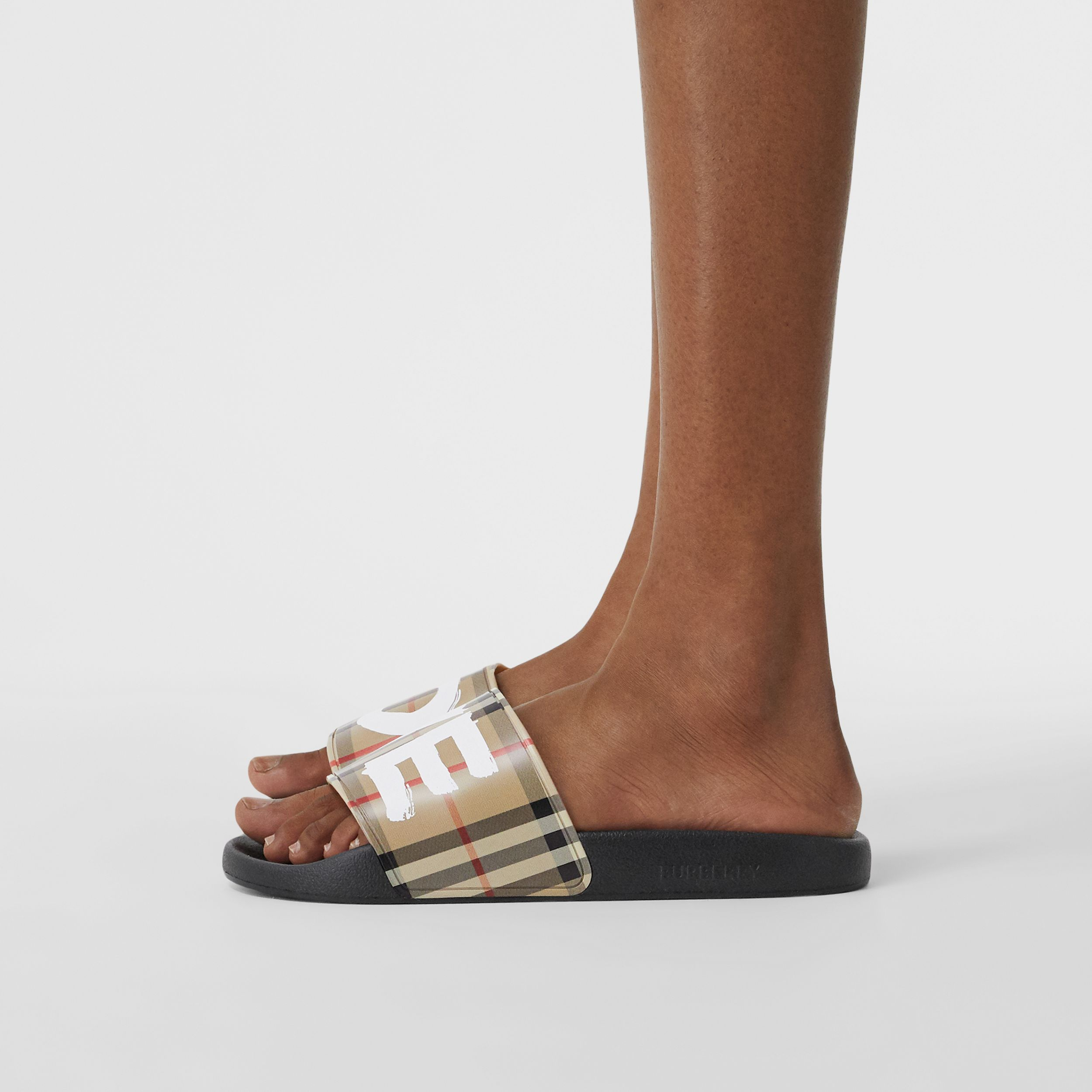 Love Print Vintage Check Slides in Archive Beige - Women | Burberry - 3