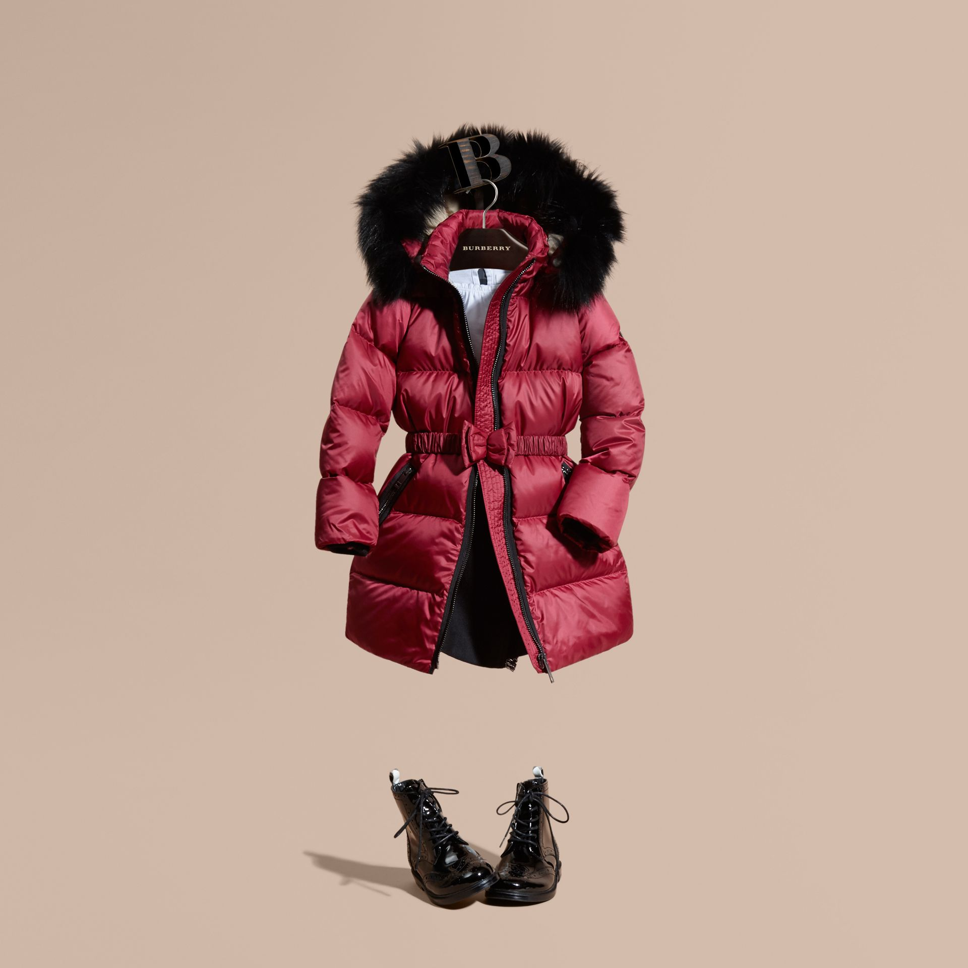 Dark plum pink Down-filled Coat with Detachable Fox Fur-trimmed Hood Dark Plum Pink - gallery image 1