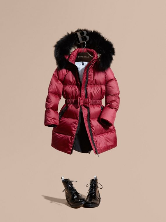 Down-filled Coat with Detachable Fox Fur-trimmed Hood Dark Plum Pink
