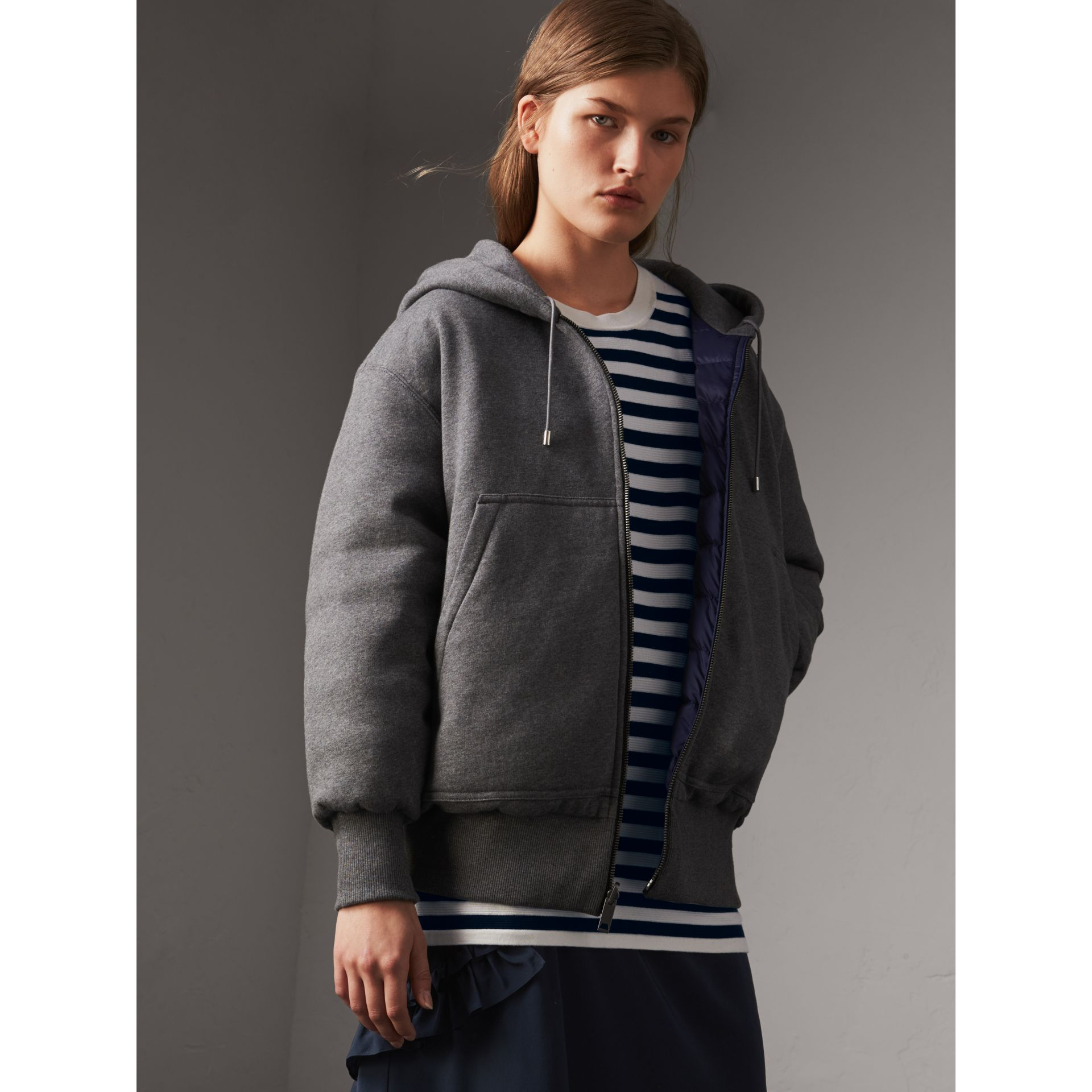 Reversible Down-filled Hooded Bomber Jacket in Bright Navy - Women | Burberry Australia - gallery image 6