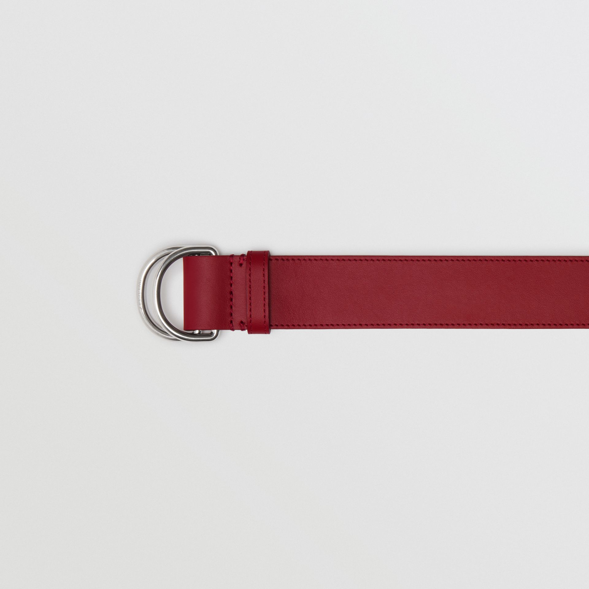 Leather Double D-ring Belt in Crimson/limestone - Women | Burberry United Kingdom - gallery image 1