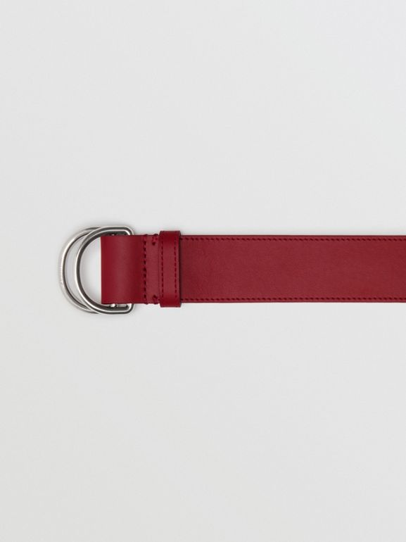 Leather Double D-ring Belt in Crimson/limestone - Women | Burberry United Kingdom - cell image 1