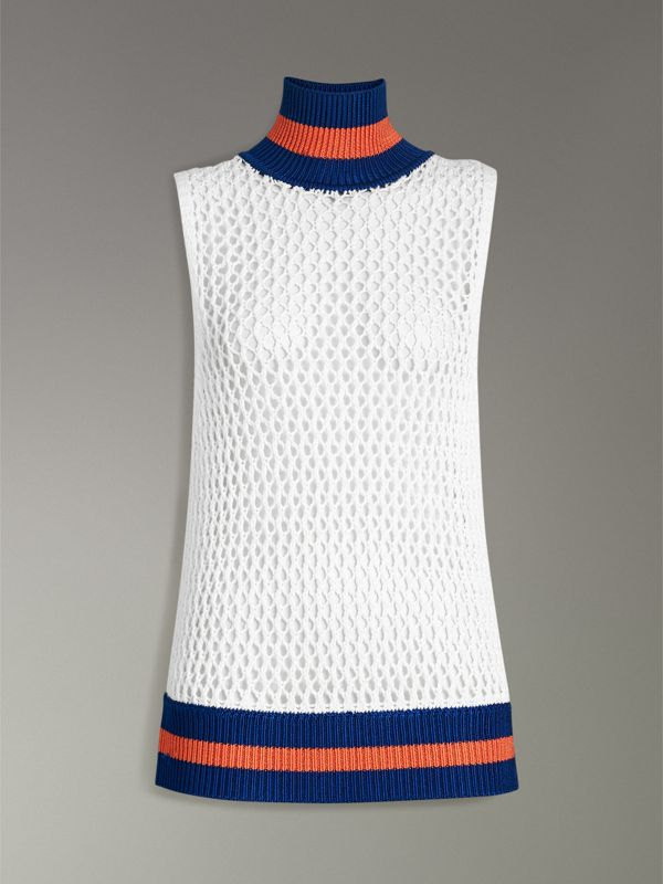 Sleeveless Mesh Knit Turtleneck Top in White - Women | Burberry Canada - cell image 3