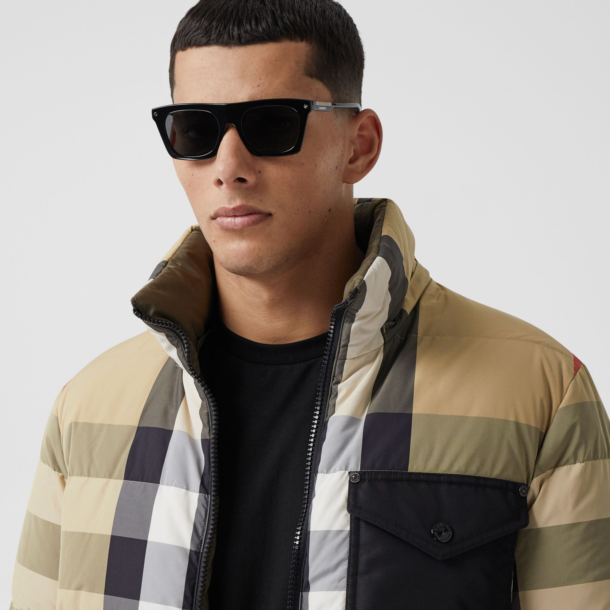 Reversible Check Recycled Nylon Puffer Jacket in Archive Beige/olive - Men | Burberry - 2