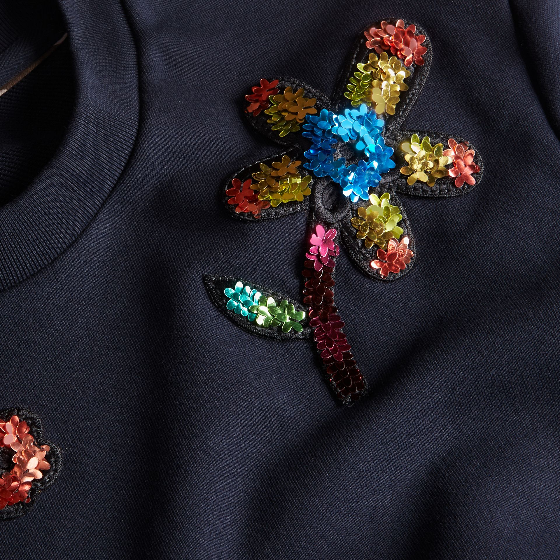Navy Sequin Floral Appliqué Cotton Sweatshirt - gallery image 2