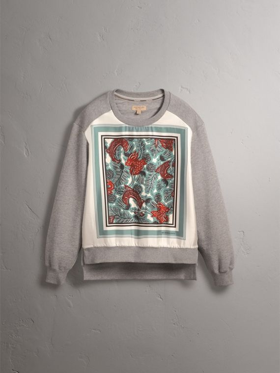 Beasts Print Silk Panel Jersey Sweatshirt in Pale Grey Melange - Women | Burberry - cell image 3