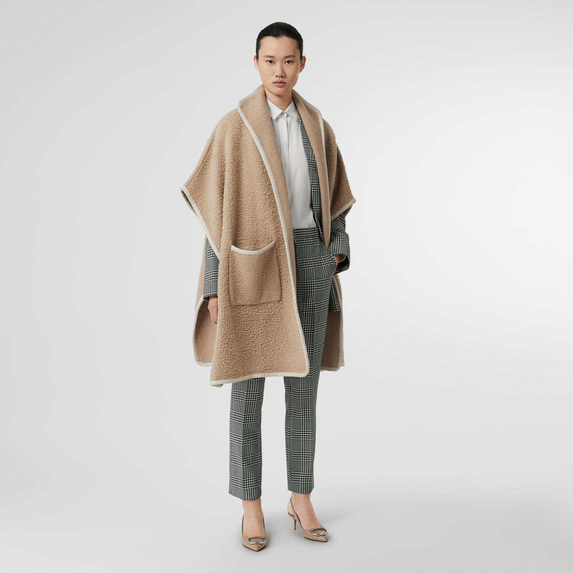 Wool Fleece Cape in Sand - Women | Burberry Australia - gallery image 0