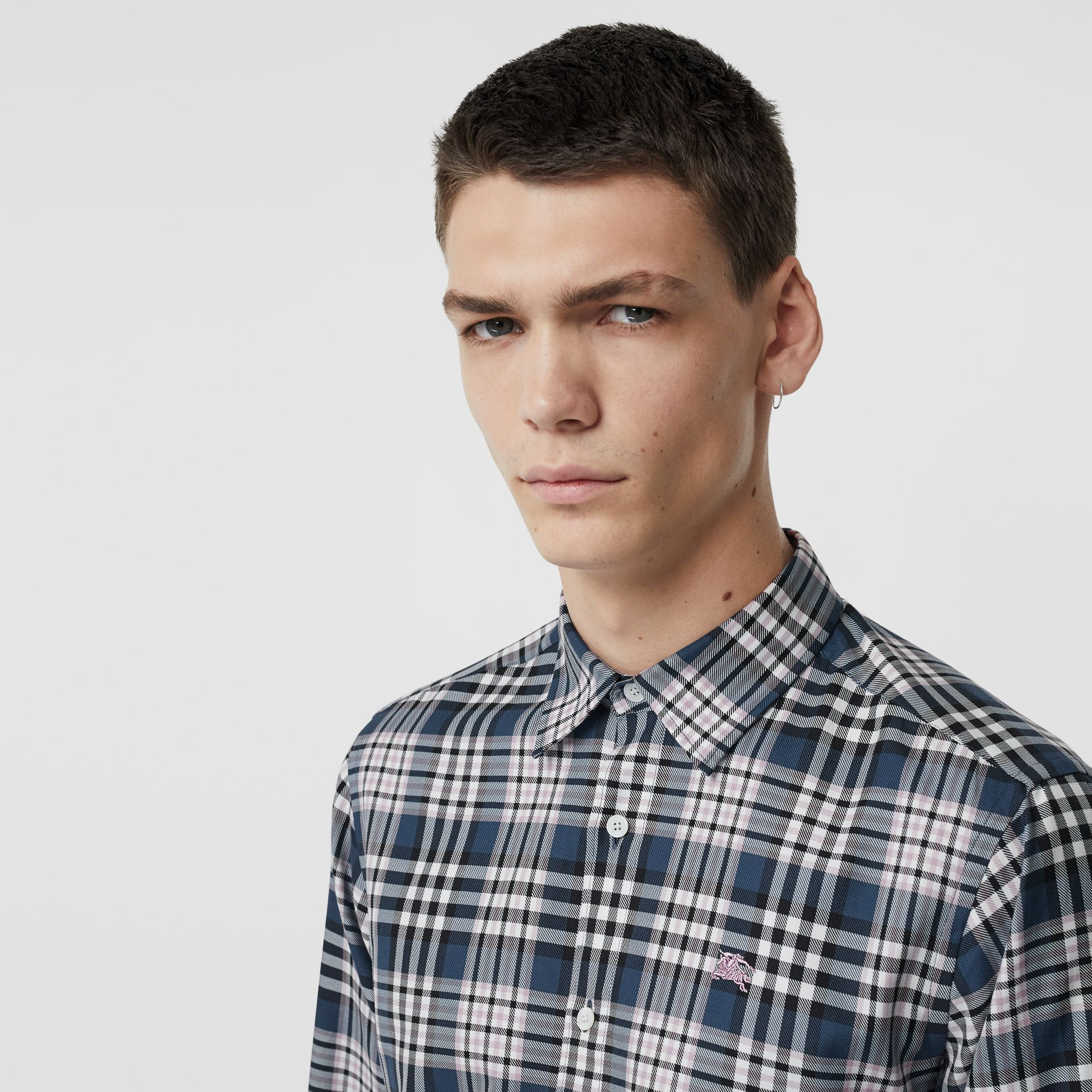 Check Cotton Shirt in Petrol Blue - Men | Burberry - gallery image 1
