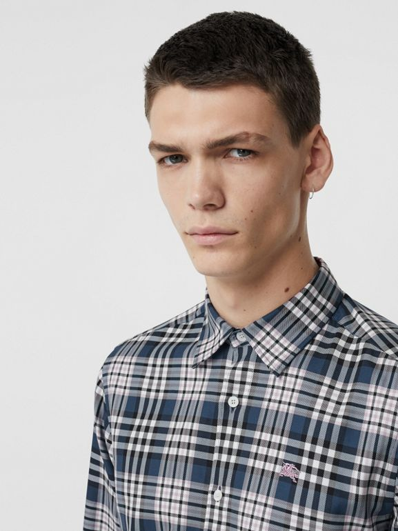 Check Cotton Shirt in Petrol Blue - Men | Burberry - cell image 1
