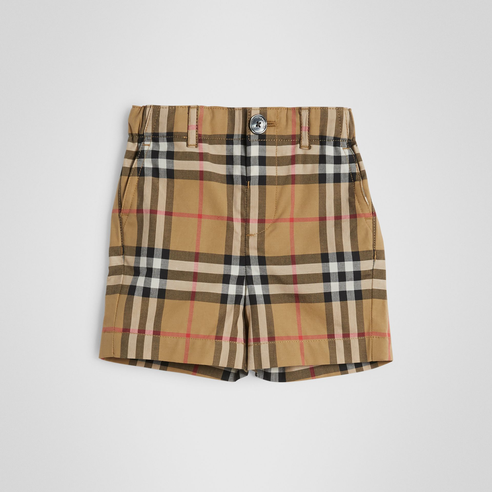 Vintage Check Cotton Tailored Shorts in Antique Yellow - Children | Burberry - gallery image 0