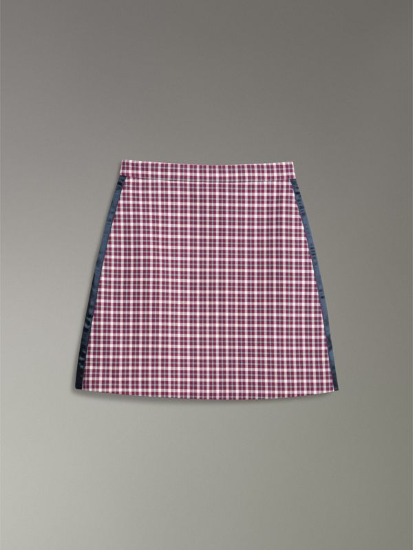 Stripe Detail Check Cotton Mini Skirt in Burgundy - Women | Burberry Singapore - cell image 3