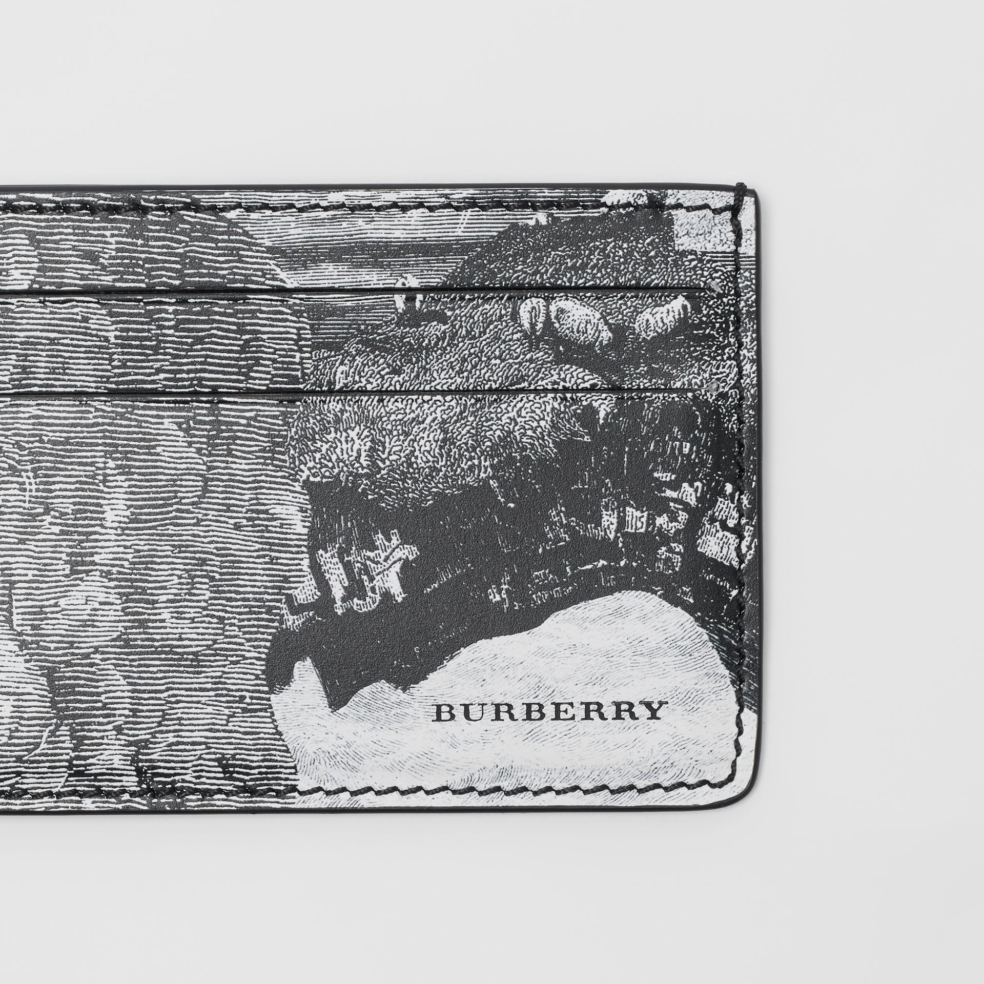 Dreamscape Print Leather Card Case in Black/white - Men | Burberry - gallery image 1
