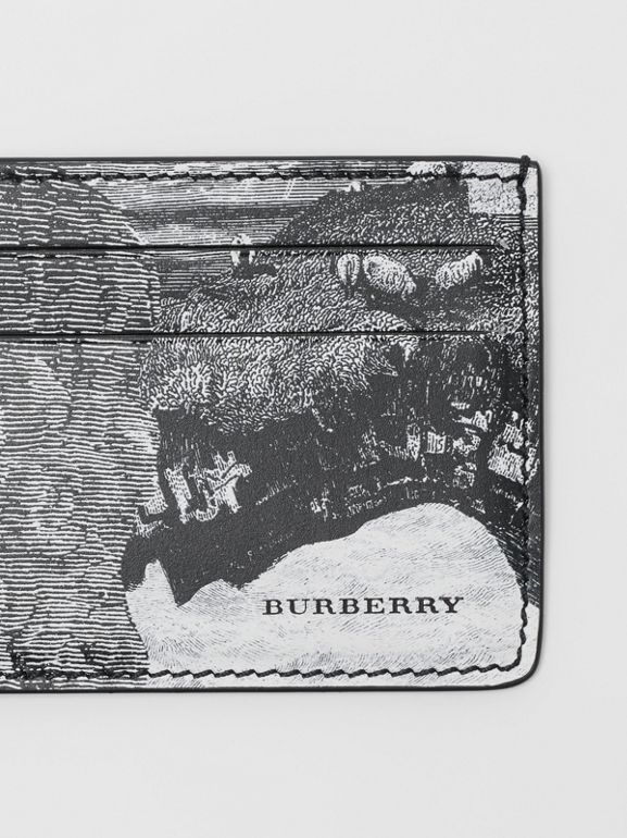 Dreamscape Print Leather Card Case in Black/white - Men | Burberry - cell image 1