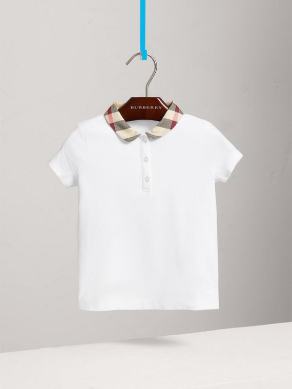 Check Collar Polo Shirt in White - Girl | Burberry - cell image 2