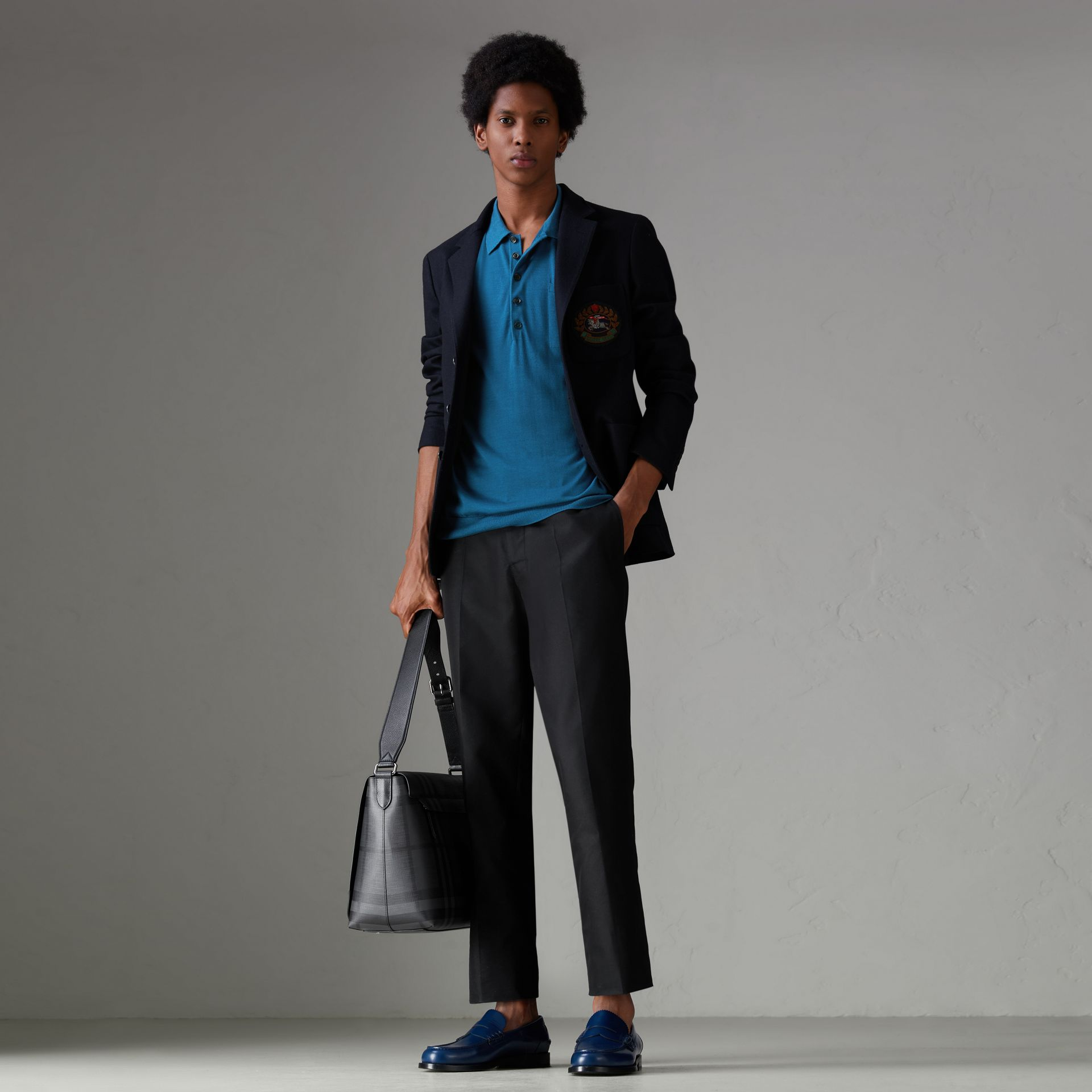 Knitted Silk Polo Shirt in Dark Teal Blue - Men | Burberry - gallery image 0