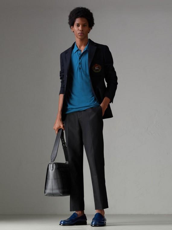 Knitted Silk Polo Shirt in Dark Teal Blue