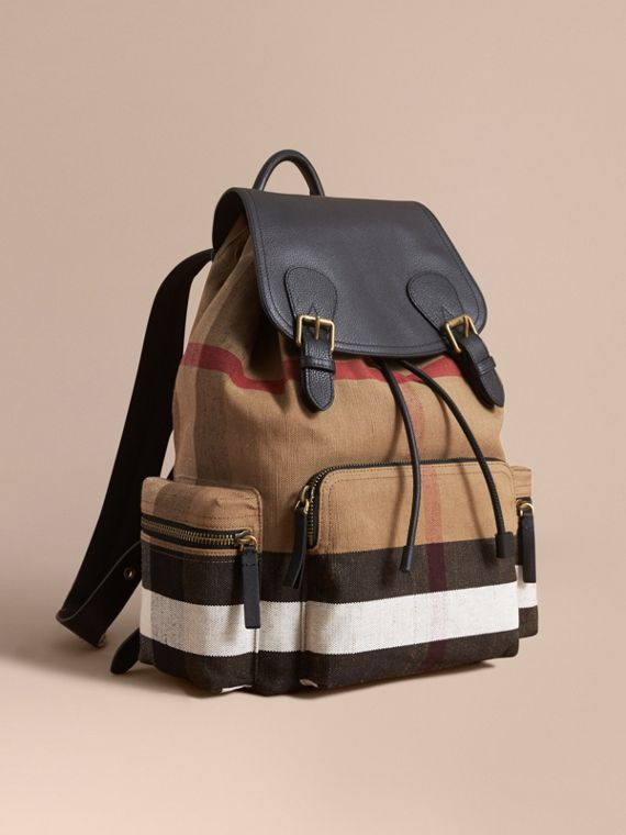 Zaino The Rucksack grande con motivo Canvas check e dettagli in pelle Classic