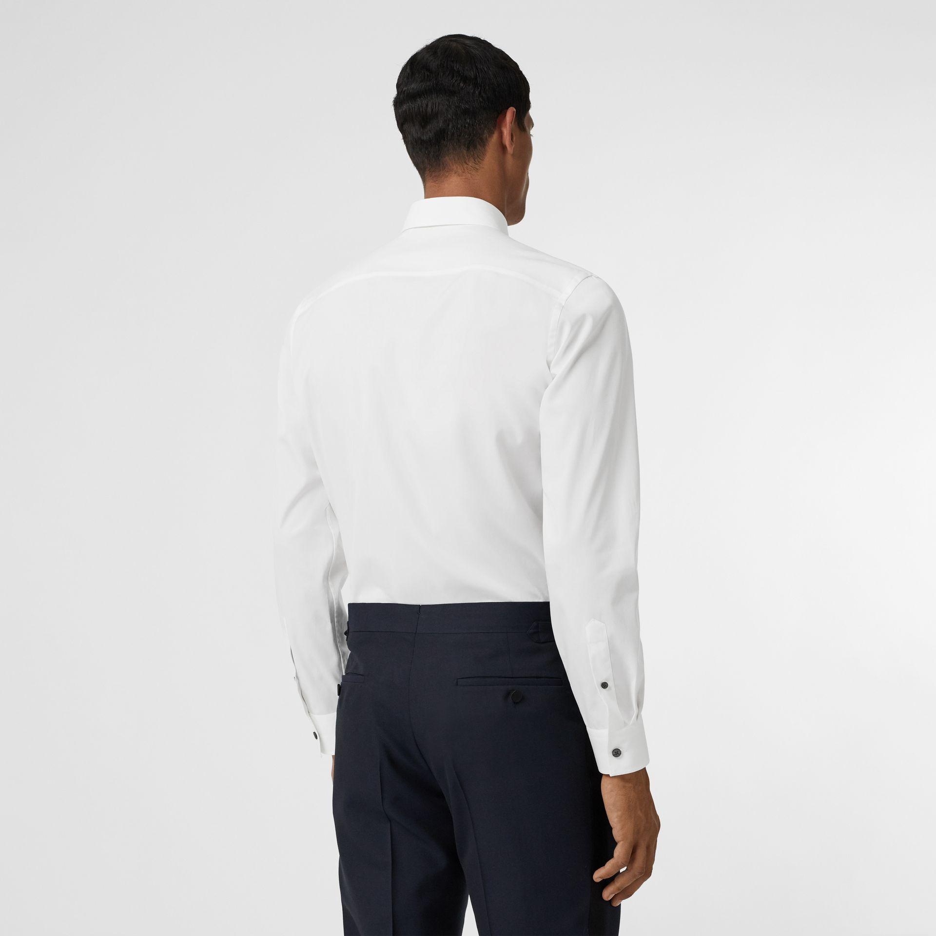 Monogram Motif Stretch Cotton Poplin Shirt in White - Men | Burberry United States - gallery image 2