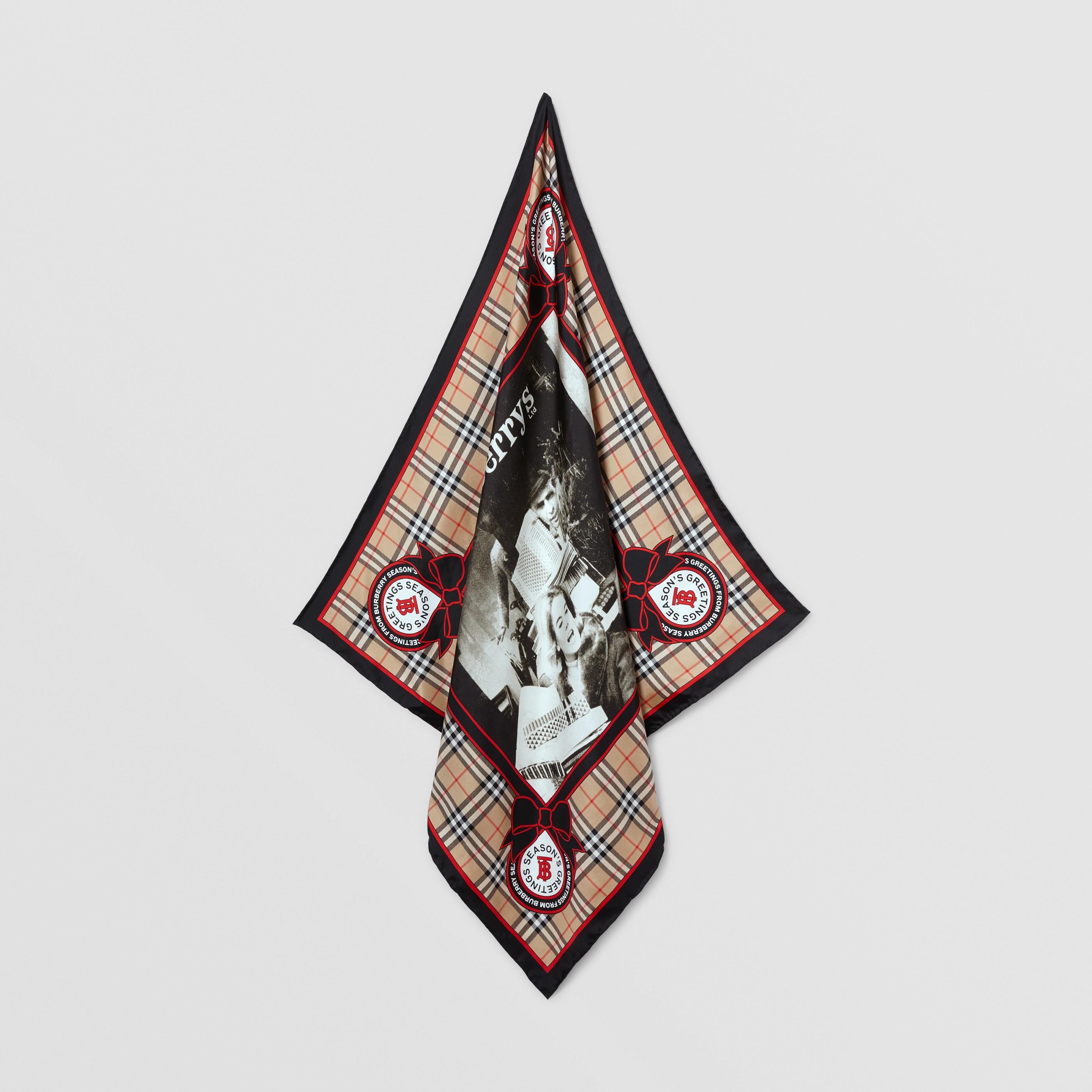 Foulard in seta con stampa campagna d'archivio (Beige) | Burberry - 5