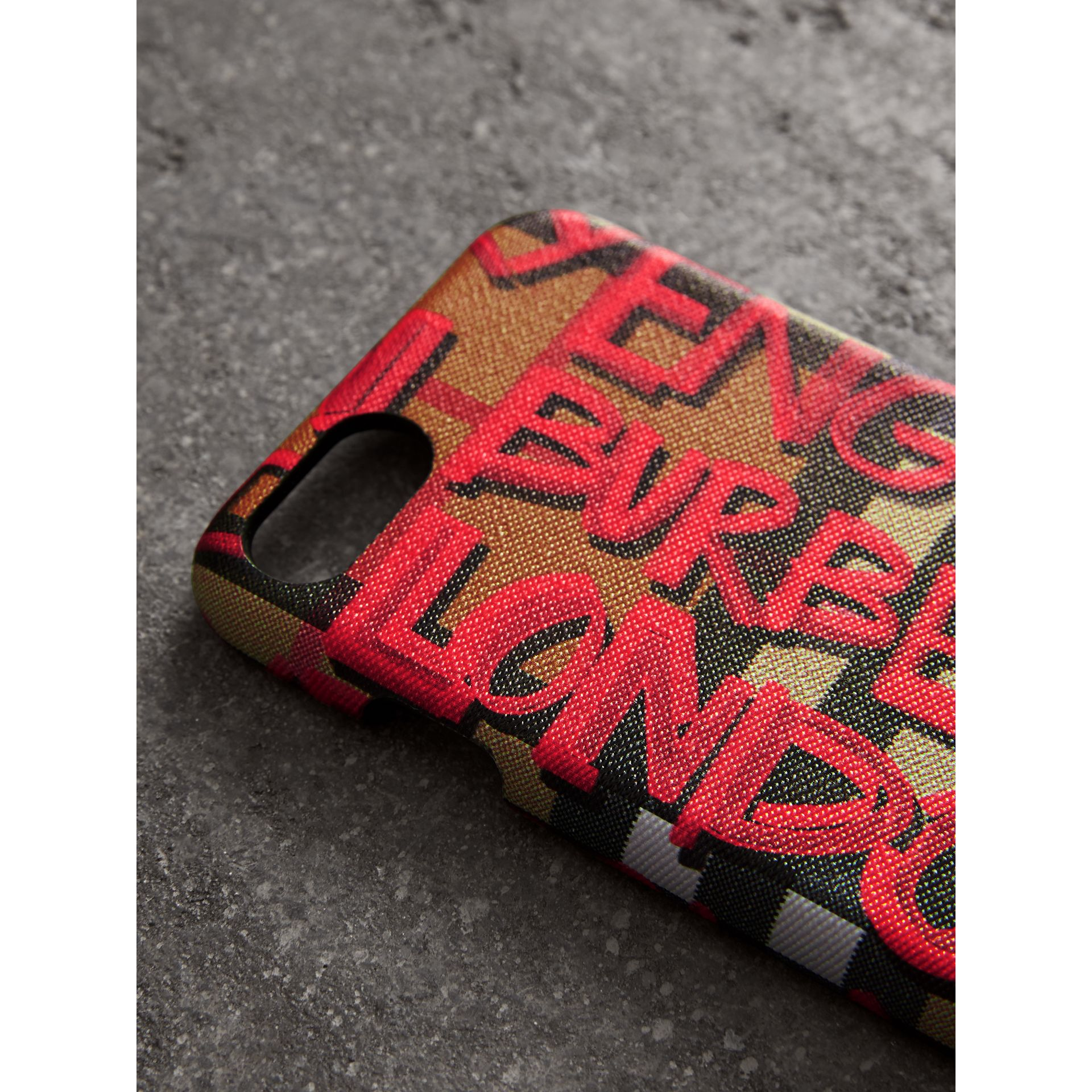 Graffiti Vintage Check Leather iPhone 8 Case in Red | Burberry - gallery image 1