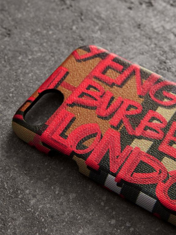 Graffiti Vintage Check Leather iPhone 8 Case in Red | Burberry United States - cell image 1