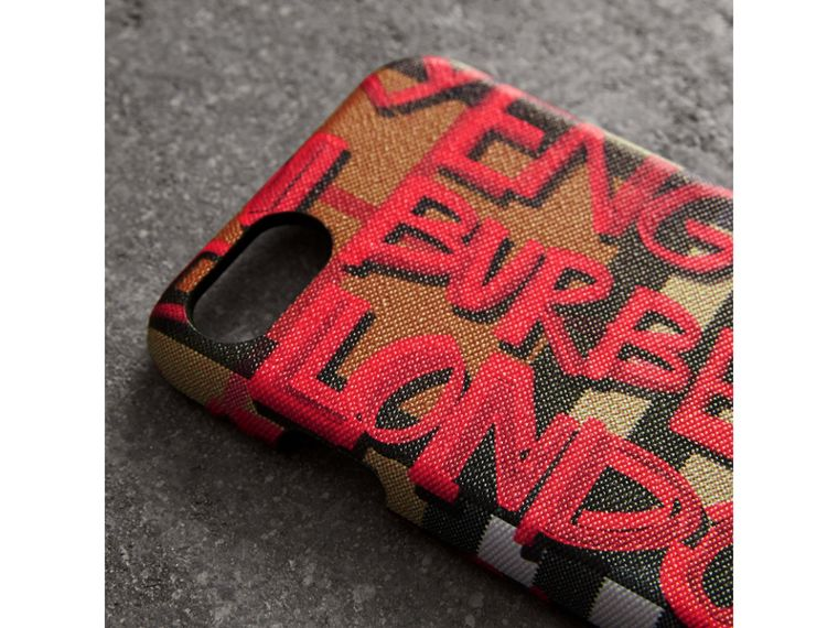 Graffiti Vintage Check Leather iPhone 8 Case in Red | Burberry - cell image 1
