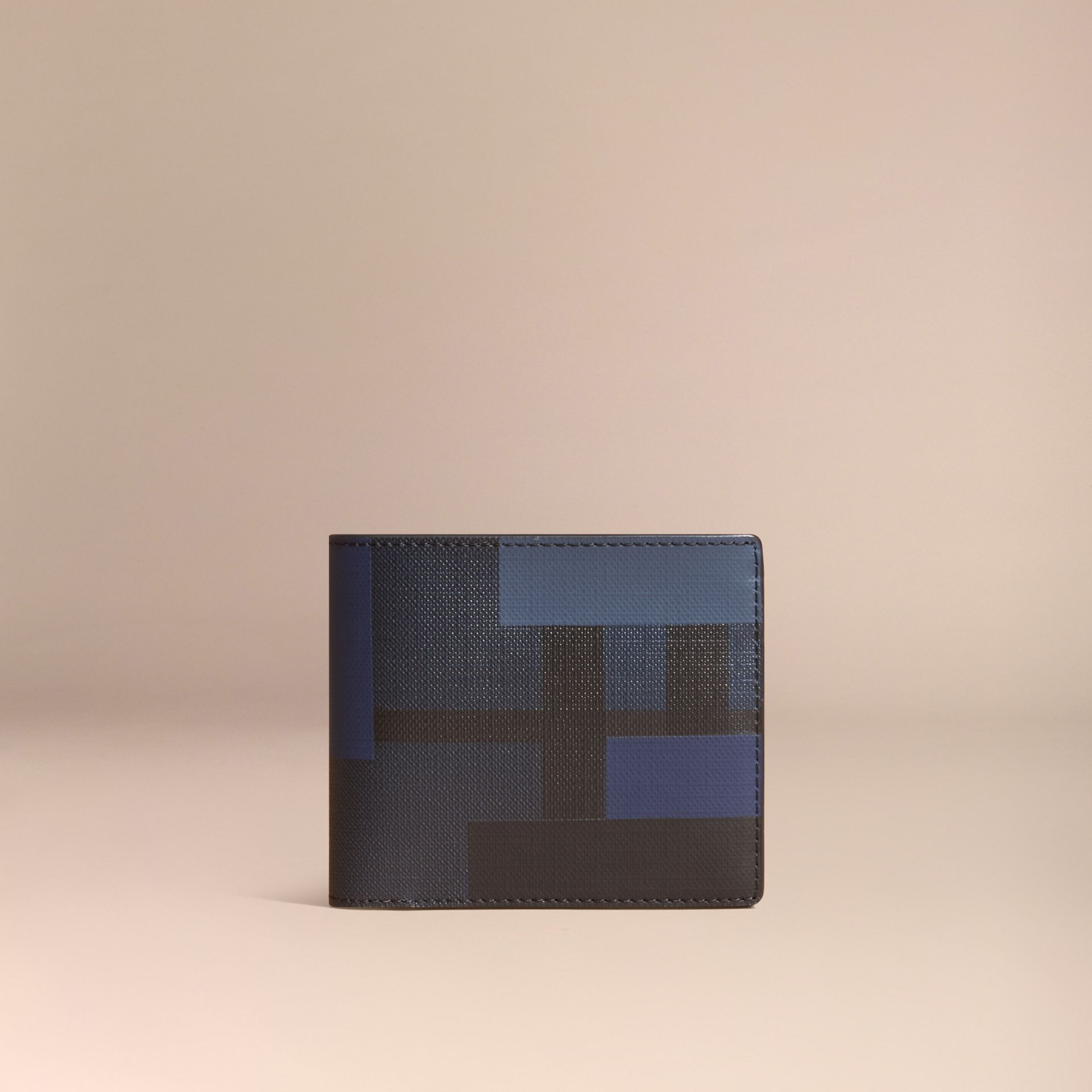 Navy/geometric Colour Block and London Check Folding Wallet - gallery image 6