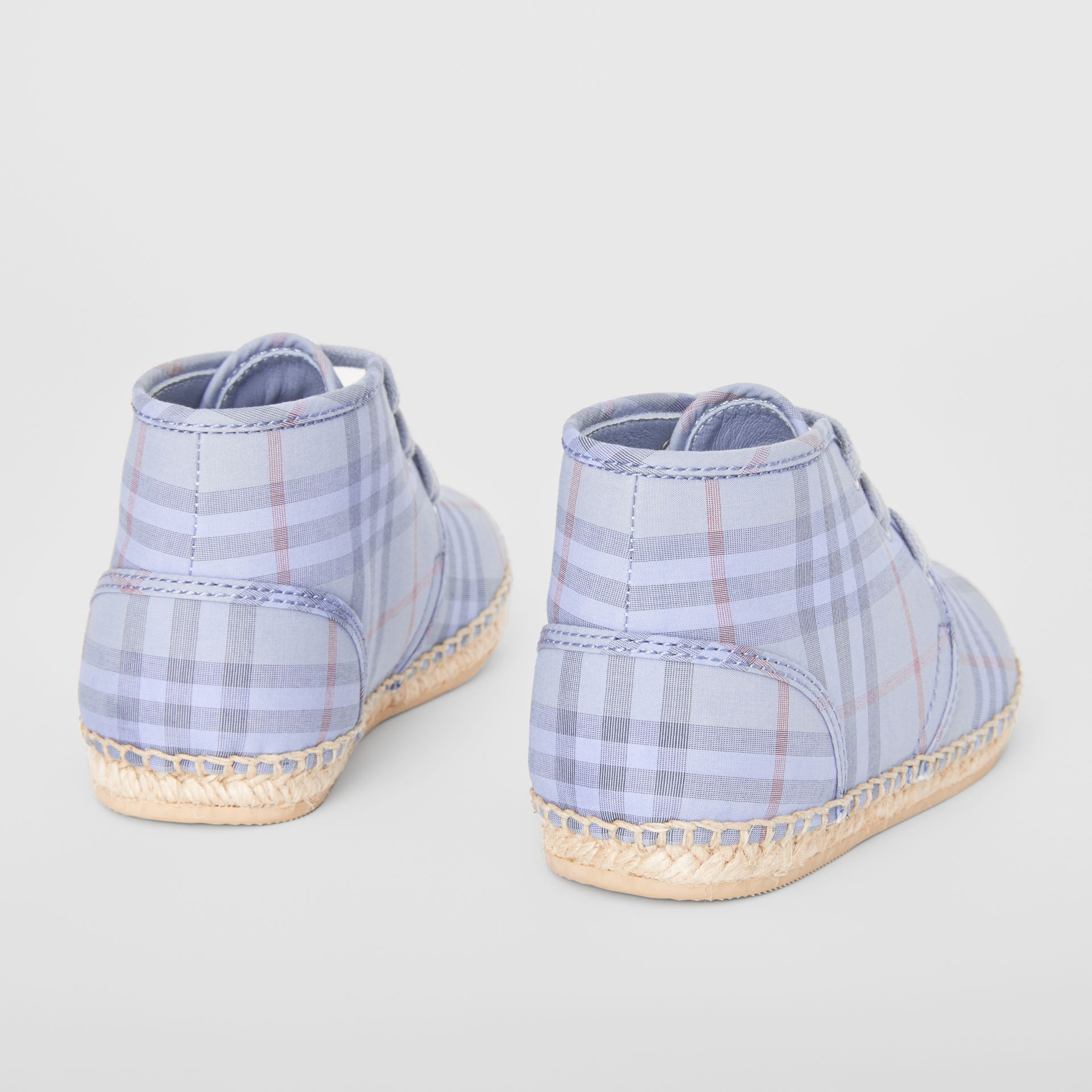 Check Espadrille Booties in Dusty Blue - Children | Burberry - gallery image 2