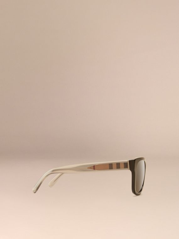Black Check Detail Square Frame Sunglasses Black - cell image 3