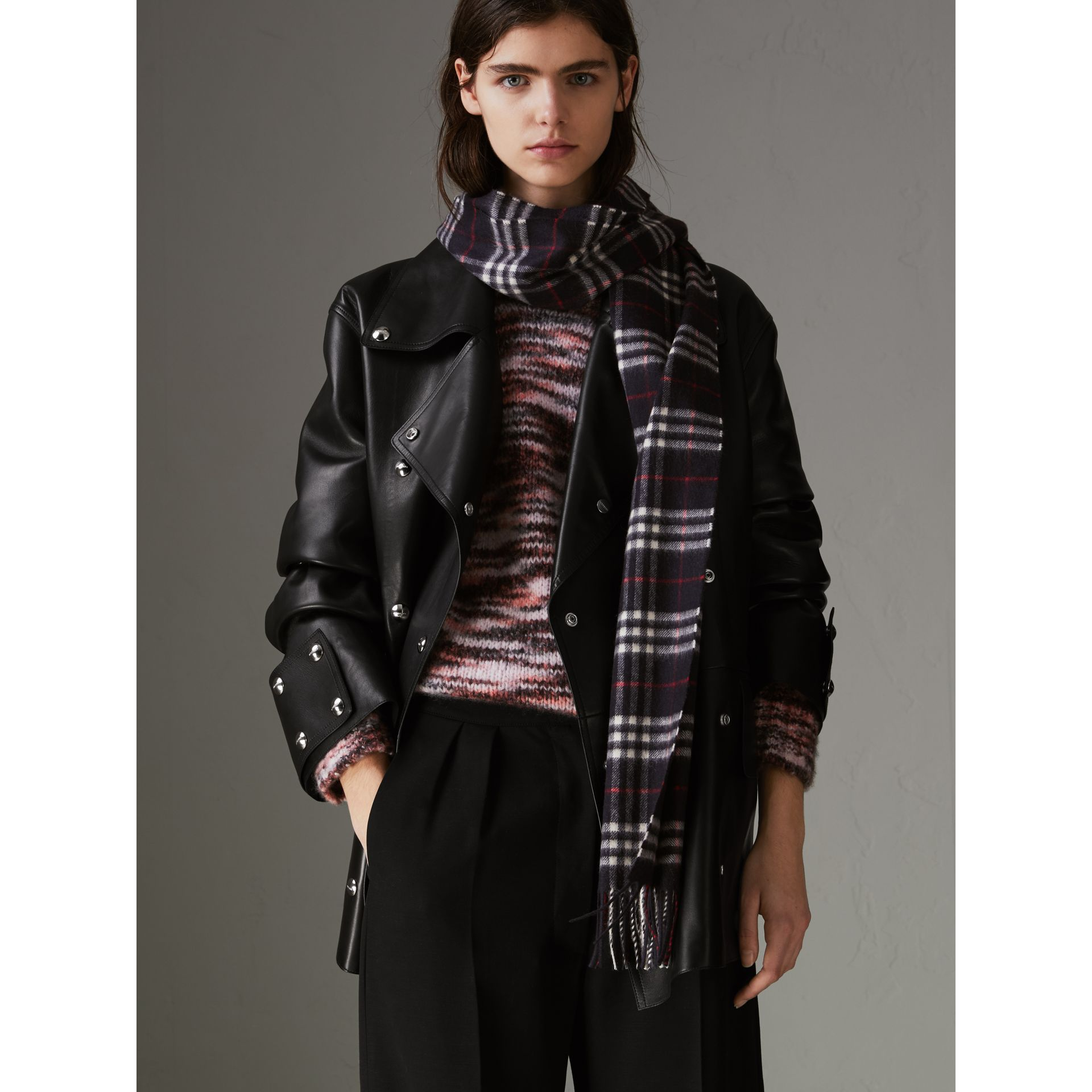 The Classic Vintage Check Cashmere Scarf in Navy | Burberry Canada - gallery image 7