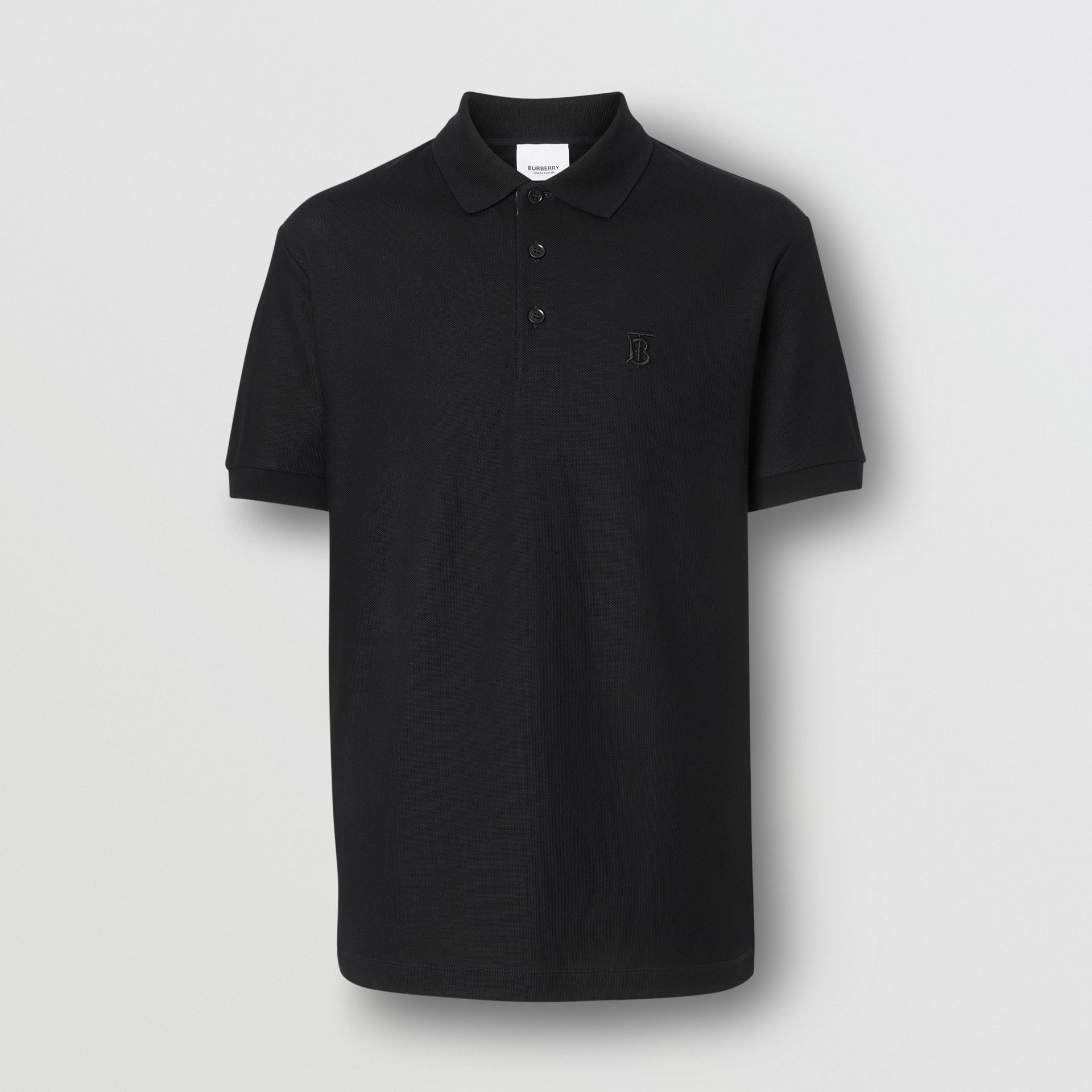 Monogram Motif Cotton Piqué Polo Shirt in Black - Men | Burberry - gallery image 3