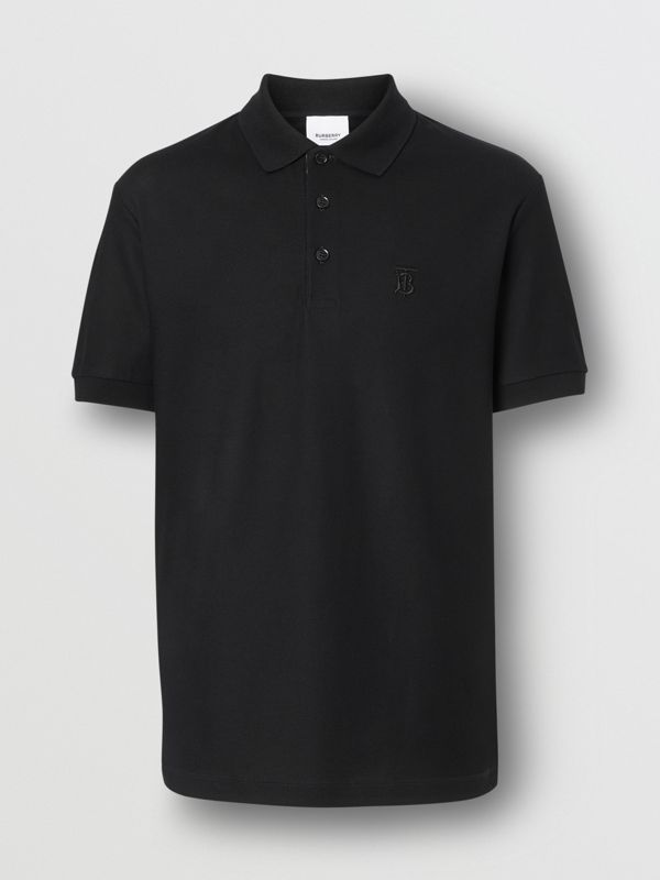 Monogram Motif Cotton Piqué Polo Shirt in Black - Men | Burberry United Kingdom - cell image 3
