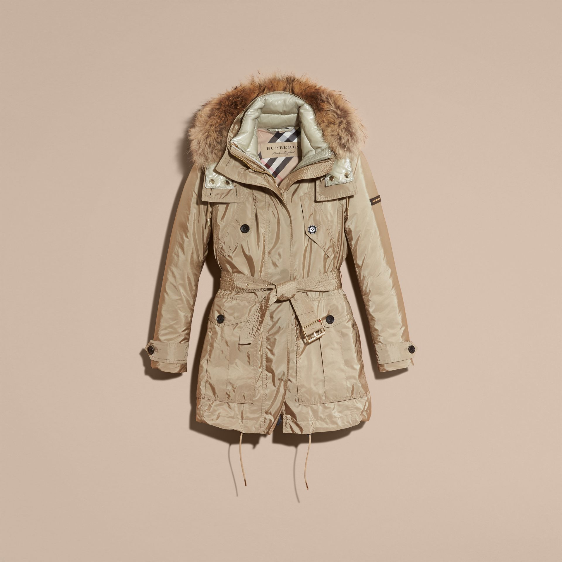Fur-trimmed Parka with Detachable Down-filled Jacket in Sisal - gallery image 4