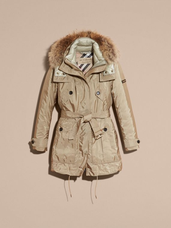 Fur-trimmed Parka with Detachable Down-filled Jacket in Sisal - cell image 3