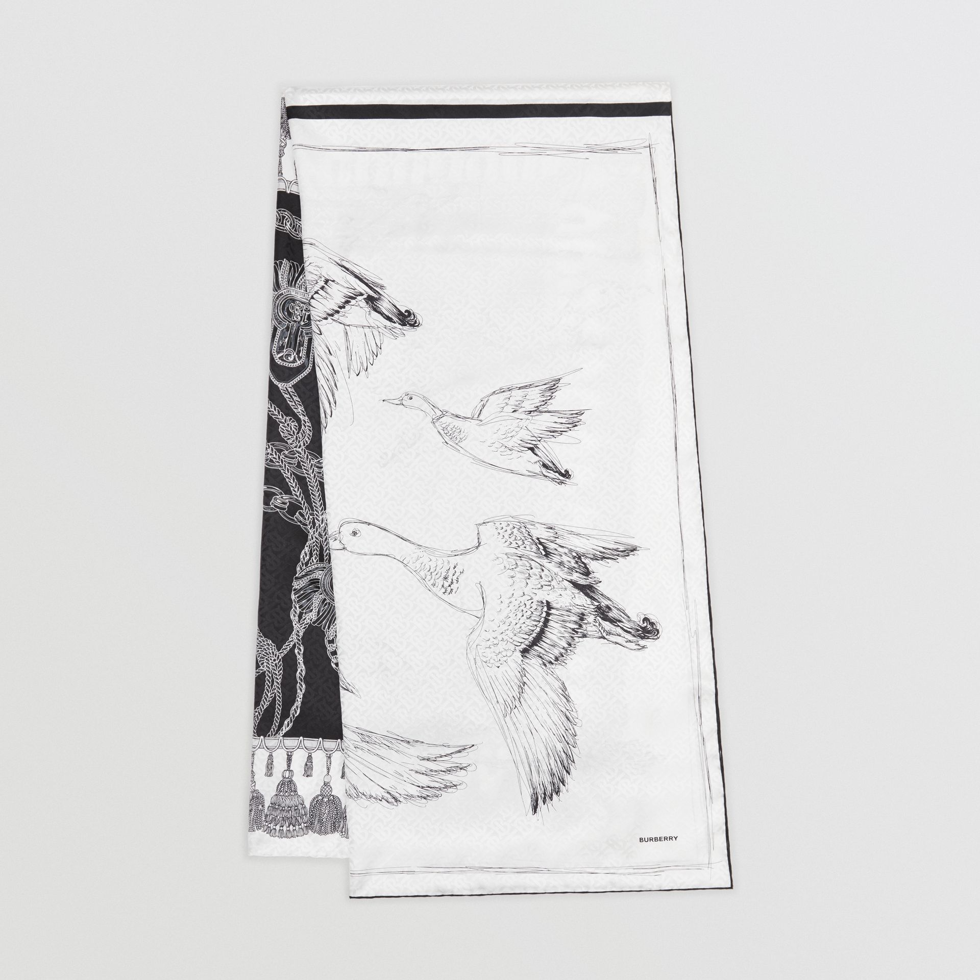 Sketch Print Monogram Silk Jacquard Scarf in Black/white | Burberry - gallery image 0
