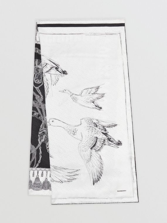Sketch Print Monogram Silk Jacquard Scarf in Black/white