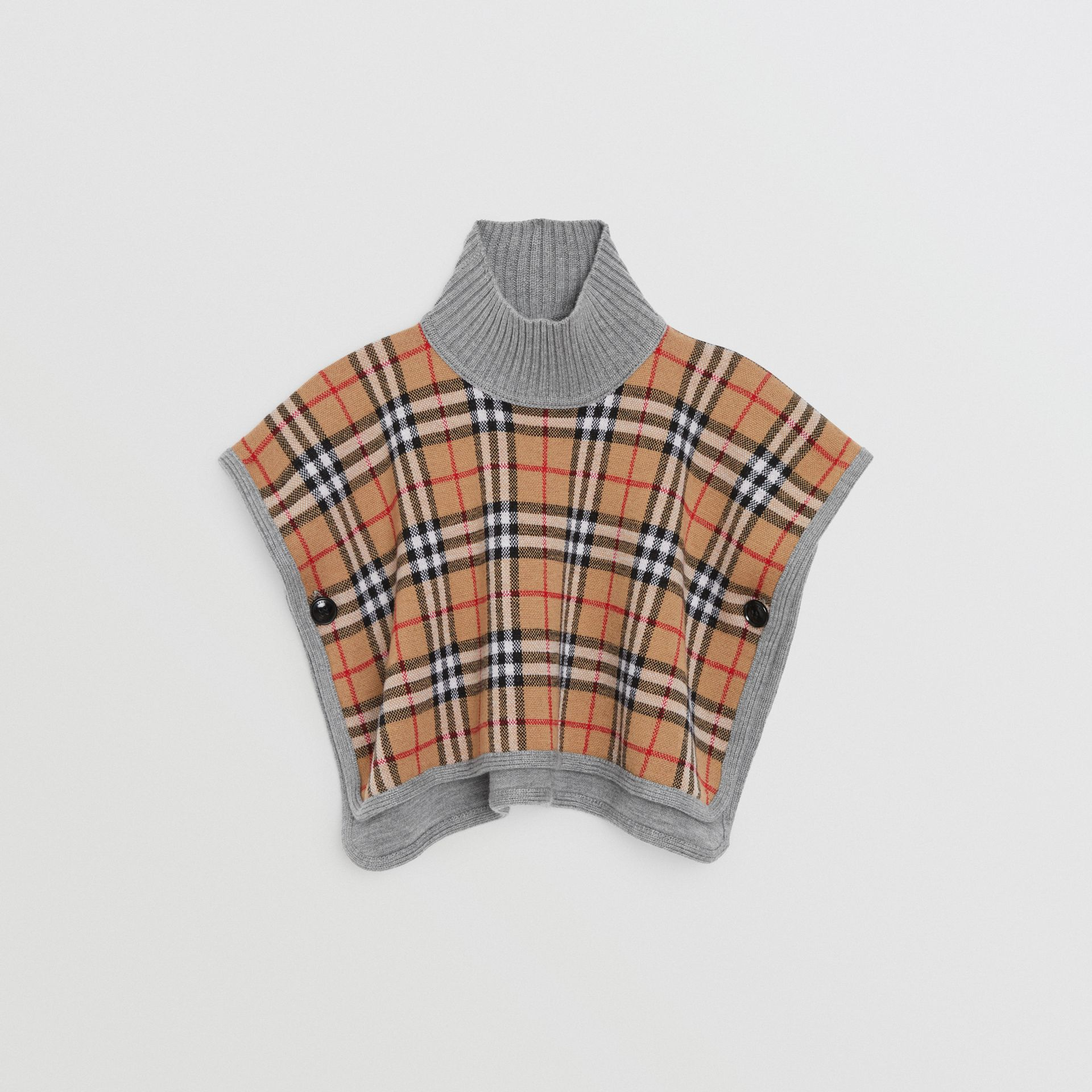 Reversible Check Merino Wool Jacquard Poncho in Grey Melange - Children | Burberry United States - gallery image 3