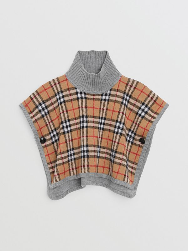 Reversible Check Merino Wool Jacquard Poncho in Grey Melange - Children | Burberry - cell image 3