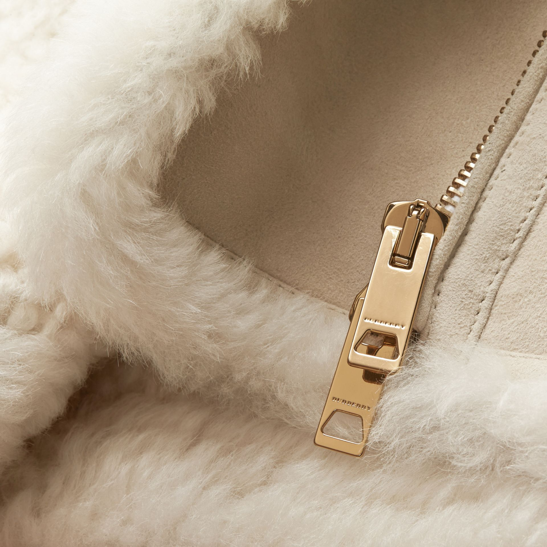 Natural white Shearling Biker Gilet Natural White - gallery image 2