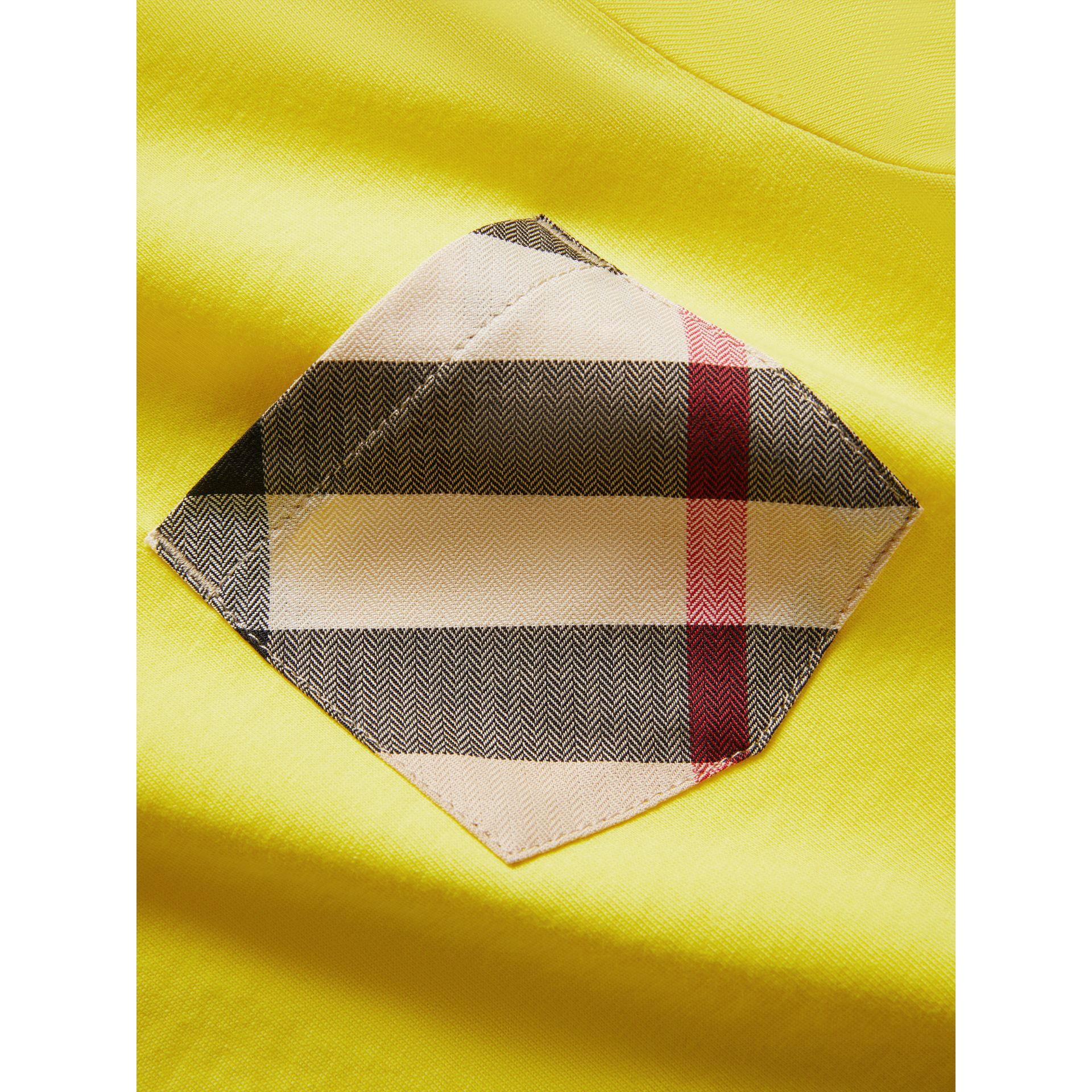 Check Pocket Cotton T-shirt in Bright Citrus Yellow - Boy | Burberry - gallery image 1