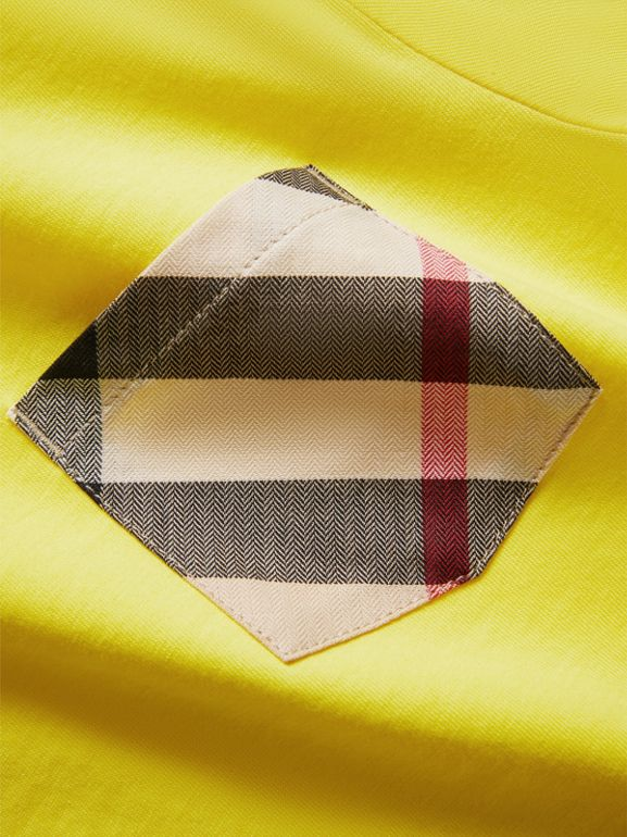 Check Pocket Cotton T-shirt in Bright Citrus Yellow | Burberry - cell image 1