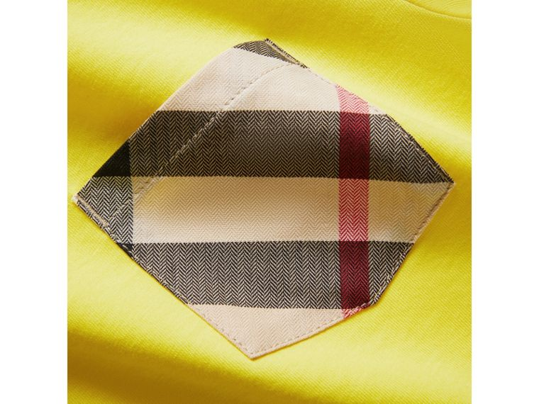 Check Pocket Cotton T-shirt in Bright Citrus Yellow - Boy | Burberry - cell image 1